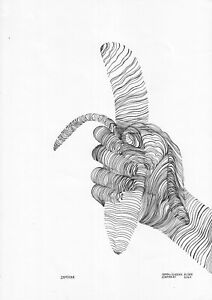 original drawing A3 56NA line art samovar Ink Modern banana in hand