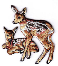 2 BABY DEER (FAWN)  Iron On Patch Forest Animal