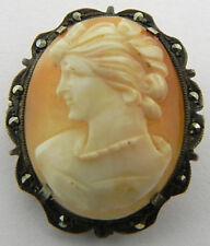 Cameo Pin Pendant Sterling Silver Marcasite Shell