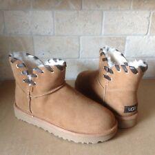 UGG Aidah Mini Chestnut Suede Sheepskin Classic Boots Size US 7 Womens NIB