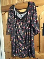 """Lovely Flower Power Floral Tunic Top Size 24 Chest 48"""" Plus Size Charcoal Floral"""