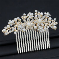 Bridal Prom Rose Gold Crystal Diamanté Pearl Hair Comb Clip Slide Fascinator RF
