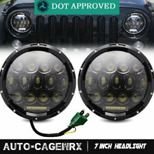 """Black Led Headlights For Ford F100 1969-1979 7"""" inch Halo DRL Amber Turn Signal"""