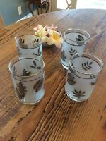 Vintage Mid Century Set of 4 Libby Silver Leaf Frosted Bar/Water Glasses
