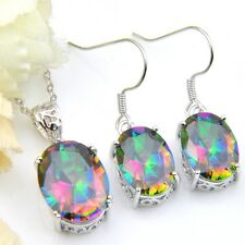 Oval Rainbow Mystic Topaz Silver Dangle Earrings Pendant Necklace Jewelry Set