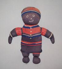 "Old Antique Vtg Ca 1900s Hand Made Folk Art Cloth Sock Rag Doll 10.5"" Tall Nice"