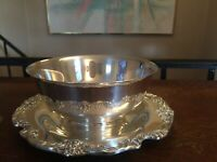 """Reed & Barton Silverplate Serving Bowl King Francis 8.5"""" Underplate Sauce Fruit"""