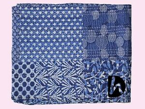 King/Twin Blanket 100% Cotton Kantha Quilt Blue Patchwork Bedcover Bedding Throw