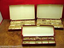 3 anciennes boites, lettres, chiffres, sujets en relief, Rodel, Arguet, broderie