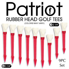 "PATRIOT Rubber Head Golf Tees 9 pc Set Includes: 6 - 3 1/4"" & 3 - 2 1/4"" Tees"