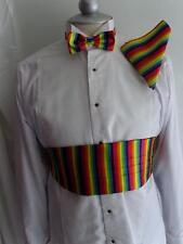 (Vrt) RAINBOW Bow tie + Cummerbund and Hankie Set > P&P 2UK>1st Class-60 Colours