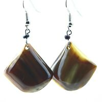 Maasai Market African Handmade Cow Horn Dangle Earrings 328-96A