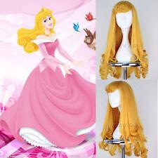 Disney Aurora Princess Long Wavy Golden yellow Curly cosplay Wig+free wigs cap