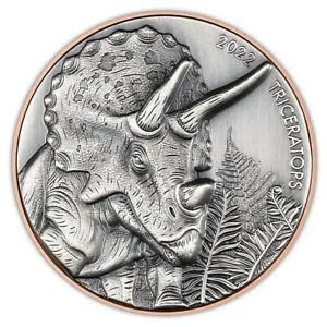 Triceratops Double Silver Giant  Silver Coin 10 Vatu Vanuatu 2021