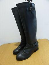 Skechers black leather motorcycle biker long leather boots UK 3 EU36 NEW no box