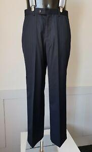 90s Daniel Hechter Lightweight Trousers Black/Blue Pinstripe Wool W32 L30 TJ91
