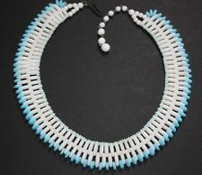 """Vintage West Germany Bead Necklace White Light Blue Beads 1940's 12"""""""