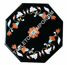 "18"" Marble Custom Coffee End Table Top Inlay Marquetry Bedroom Decor Gift E665A"