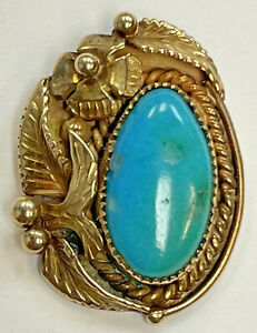 Vintage 14k Solid Yellow Gold Navajo Native American Turquoise Pendant Signed