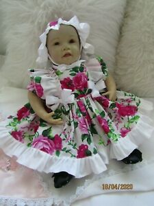 """, CLOTHES FOR  3-6MTHS  BABY = 22"""" REBORN  TWO PIECE  DRESS SET LARGE ROSE-NEW"""