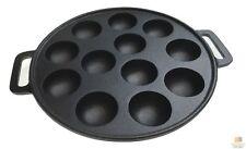 12 Dimple Cast Iron Poffertjes Mini Dutch Pancake Cake Pan with Handles New