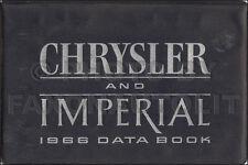 1966 Chrysler Data Book Dealer Album Imperial 300 New Yorker Newport Facts