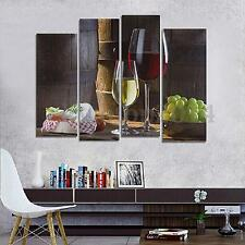 4 Panel Red Wine Grape Picture Canvas Painting Modern Art Wall Decor Unframed