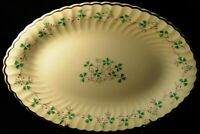 "Syracuse China Clover Oval Serving Platter 14"" Green Ivory Excellent"