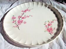 BEAUTIFUL WHITE & PINK FLORAL CAKE PLATE SILVER TRIM PANELLED EDGES VINTAGE