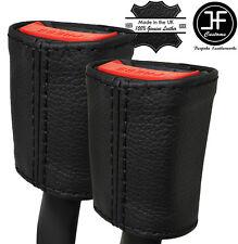 BLACK STITCH 2X SEAT BELT LEATHER COVERS FITS PORSCHE 996 CARRERA 986 BOXSTER