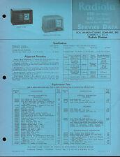 Rare Original Factory RCA Radiola 520 & 510 AM Radio Service Data Repair Sheet