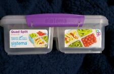 Sistema Quad Split to Go, Pink Lunch Box Food Snacks On The go School Work