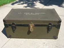 WWII Bronze Star Recipient Lt's. American Hardware Footlocker w/ Eagle Lock-1935