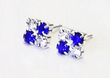 6mm Mens square capri blue and white crystal studs