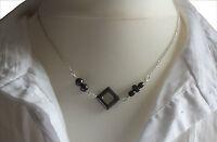 ♥ Dream-Pearls Design Halskette Hämatit Blutstein metallic schwarz silber ♥HK069