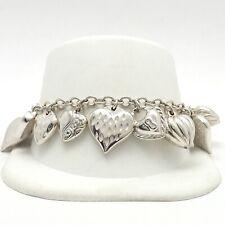 JCM Jacmel Mauritius Sterling Silver Puffy Hearts Charm Cha Cha Bracelet 7 inch