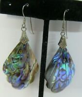 Tooth Earrings Mother of Pearl White Shell Teeth Look Silver Plated Wires NEW!
