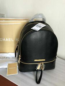 Genuine Michael Kors Rhea  leather  30S5GEZB1L Backpack in black uk stock sales