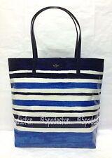 Kate Spade WKRU1505 Daycation Bon Shopper Tote Bag CAPRI STRIPE BLUE Multi NWT
