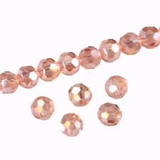 DIY 100Pc 4mm Round Crystal Glass Beads Pink Spacer Bead For Bracelet Jewelry