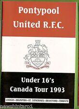#II.  PONTYPOOL UNDER 16s CANADA TOUR   RUGBY UNION PROGRAM