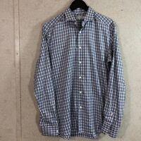 Ermenegildo Zegna Long Sleeve Button Down Shirt Blue Plaid Men's Size M