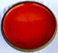 Vintage Retro Brown Pottery Dish with Orange Glaze 34cm Diameter 2.4kg