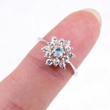 Stunning Women Girls 925 Sterling Silver Flower Ring Size 6.5 Jewelry MM1527