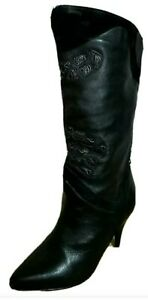 VTG WILD PAIR Black Leather Suede Heel Knee Boots Boho Lace Western Steampunk 7B