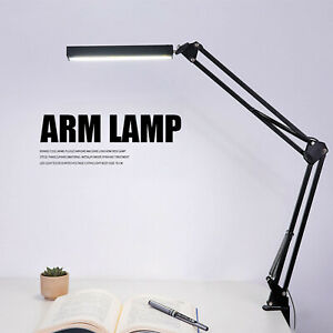 Touch Control Metal Swing Arm Dimmable Drafting LED Desk Light Table Lamp & Clip