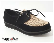 Womens Ladies Creepers Lace Up Low Wedge Flat Heel Retro Platforms Faux Suede
