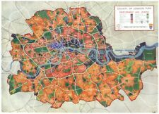 LONDON. County of London plan development and Zoning 1943 old vintage map