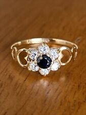 Vintage  Ladies 9ct Gold & Sapphire Cluster Ring  ~Size N ~ Fabulous !!