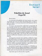 España Expo 92 Sevilla Documento del Pabellon de Israel (DI-351)